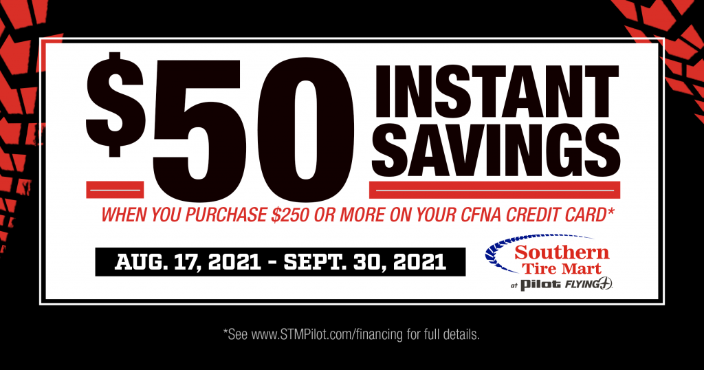 $50 Instant savings when you purchase $250 or more on your CFNA credit card